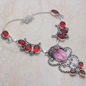 New Carved Goddess Face Silver Garnet Necklace